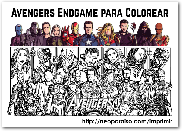 Avengers Endgame Gratis para Pintar