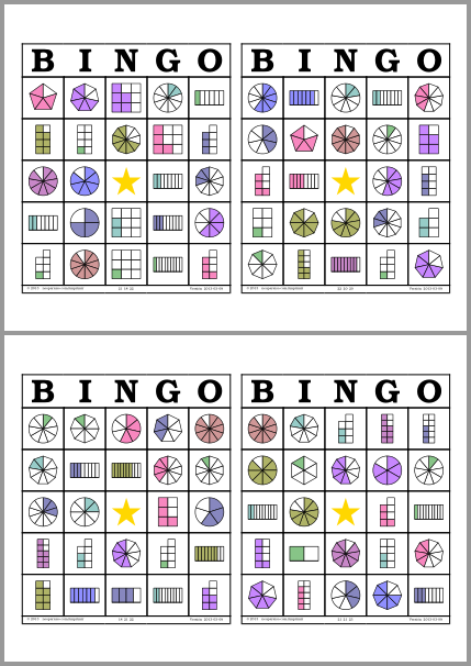 Bingo De Fracciones Neoparaiso Com Didactalia Material Educativo