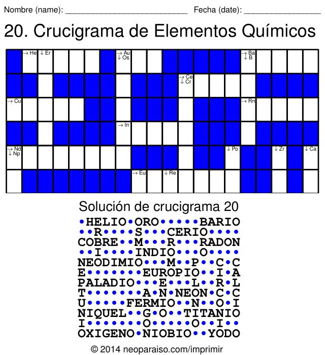 crucigramas de elementos qumicos - Ejercicios De Tabla Periodica De Los Elementos Quimicos