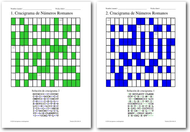 Crucigramas De Numeros Romanos Juegos De Matematicas