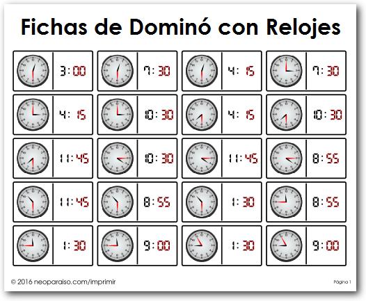 Domin 243 Con Relojes