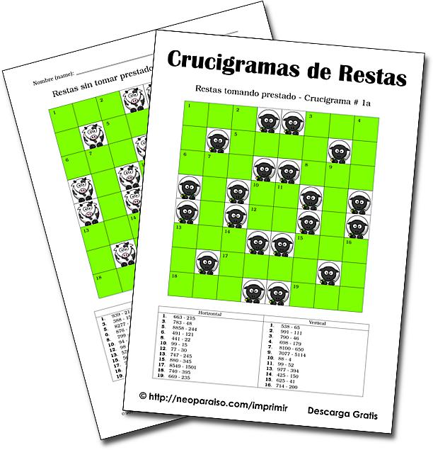 Crucigramas de restas tomando prestado (con llevada). Neoparaiso.com