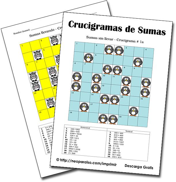 Crucigramas De Sumas Ejercicios