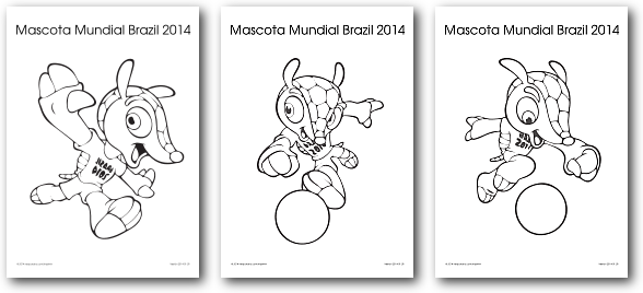 Mascota Del Mundial 2014 Fuleco Para Colorear