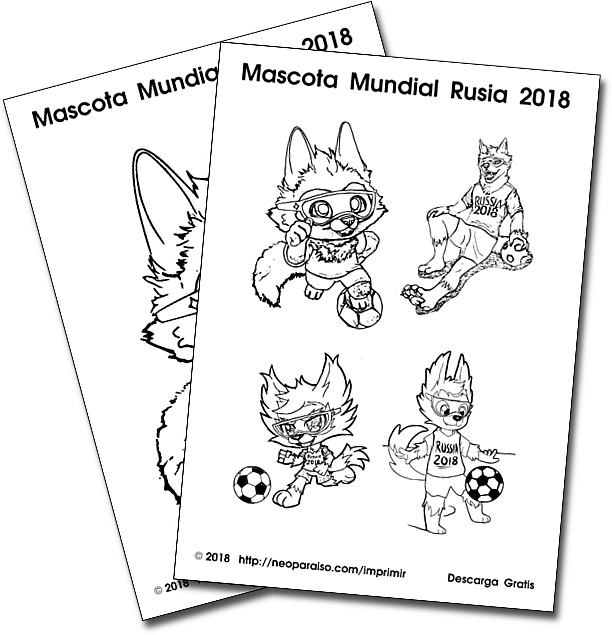 Mascota Mundial 2018 para Colorear